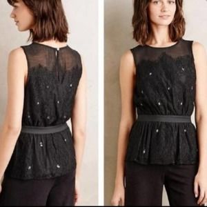 ANTHRO MEADOW RUE Peplum Lace Top